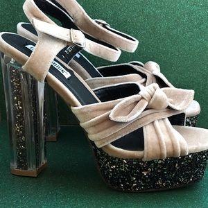 Sparkled Platform Heels Nude & Black NWOT